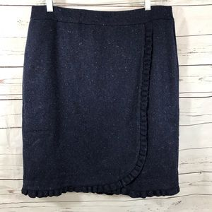 Talbots Skirt Faux Wrap Ruffle Blue Wool Size 14
